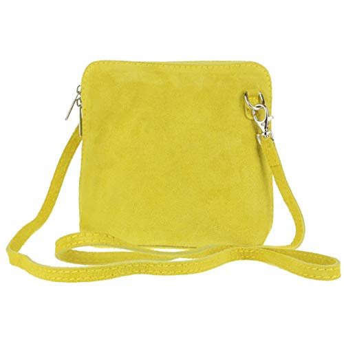 Suede Genuine Shoulder Craze Italian Womens Small Cross Vera London Designer Bag Body Yellow Real Strap pelle wqSARIfB