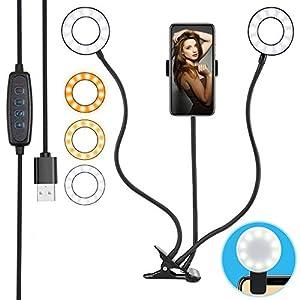 Compra anillo de luz led ideal para videos y selfies. El aro de luz cuenta con dos anillas y 3 modos de color.