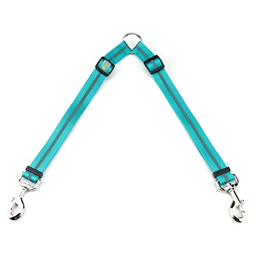 DCbark Double Dog Leash Coupler, Two Dog Adjustable Length Dog Lead, Premium Quality Leash Coupler for 2 Dogs (L, Teal)