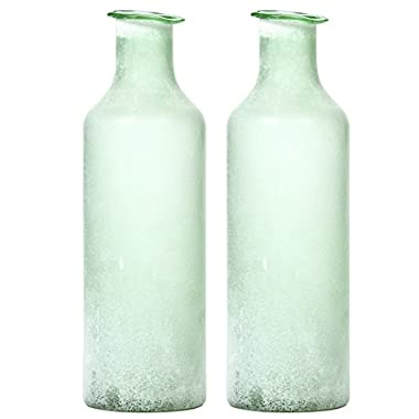 Hosley's Set of 2 Large Green Salted Glass Vases - 13.5  High. Ideal for storage, Americana, Nautical, Spa, Aromatherapy, Votive Candle Gardens