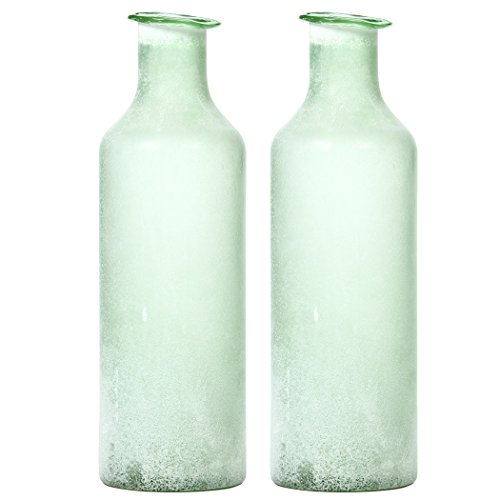 - Hosley Set of 2 Large Green Salted Glass Vases - 13.5