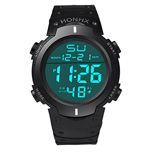 Price comparison product image Leegor Waterproof Military Digital LCD Light Stopwatch Date Rubber Sport Electronic Wrist Watch (White)
