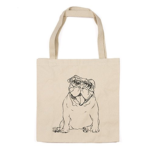 (Tank the English Bulldog Heavy Duty 100% Cotton Canvas Tote Shopping Reusable Grocery Bag 14.75 x 14.75 x 5)