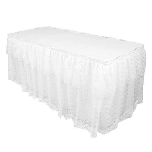 (LinenTablecloth 14 ft. Polyester Lace Table Skirt White)