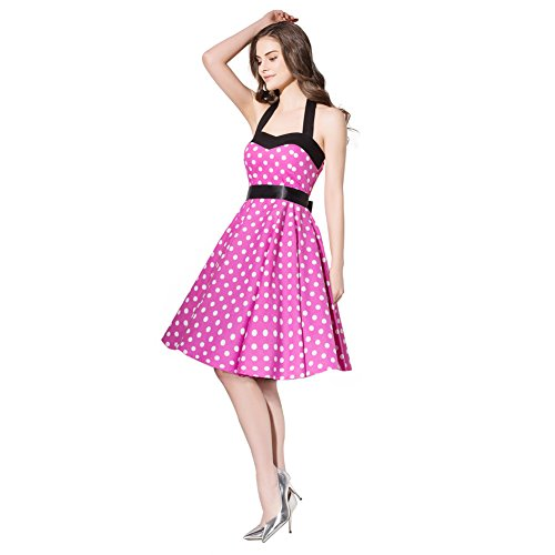 (FiftiesChic Colored Halter 100% Cotton 50s Vintage Rockabilly Swing Dress (Large, Pink White Polka Dot))