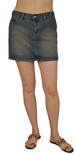 Denim Flap Pocket Skirt - Womens Vintage Blue Denim Mini Skirts #L206 Size: 15