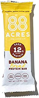 product image for 88 Acres Vegan Seed Protein Bar | Banana Bread | 12g Plant Based Protein Per Bar, Gluten Free, Nut Free, Non GMO, School Safe, No Palm Oil | 18 Pack, 1.9 oz
