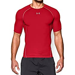 Under Armour mens HeatGear Armour Short Sleeve Compression T-Shirt, Red (600)/Steel, Medium