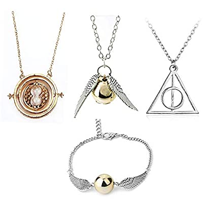 OPENDGO 4 Piece Harry Potter Necklace Bracelet Set Time Turner Deathly Hallows Golden Snitch for Harry Potter Fans Gifts Collection or Decorations
