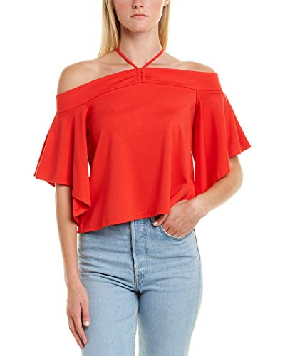 BCBGMAXAZRIA Women's Off The Shoulder Cropped Top, Scarlet, S from BCBGMAXAZRIA