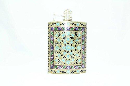 Rajasthan Gems Handmade Enamel Cloisonne SILVER, Hip Liquor Whiskey Alcohol Flask 105.61 Gr by Rajasthan Gems