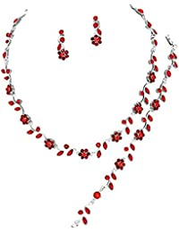 Affordable Wedding Jewelry Ruby Red Crystal 3 PCS Set Silver Necklace Bracelet Earring Bridal Formal