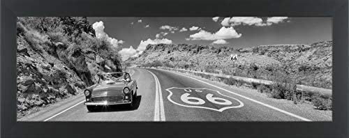 (Easy Art Prints Panoramic Images's 'Vintage car Moving on The Road, Route 66, Arizona, USA' Premium Framed Canvas Art - 24