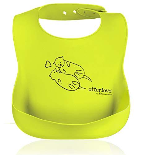 Otterlove Silicone Bib. 100% Pure Platinum LFGB Silicone Bibs. NO fillers. No BPAs, BPS, Phthalates - Set of Two Waterproof Bibs - Boys and Girls Bibs - (Blue Elephant & Lemon Lime Otters)