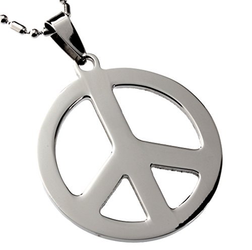 R.H. Jewelry Mens Womens Stainless Steel Pendant, Peace Symbol Pendant Necklace (Peace Pendant Necklace)