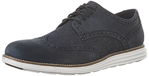 Mens Cole Hait Originale Grand Wingtip Oxford Navy Inchiostro Nabuk / Denim Scuro / Bianco Ottico