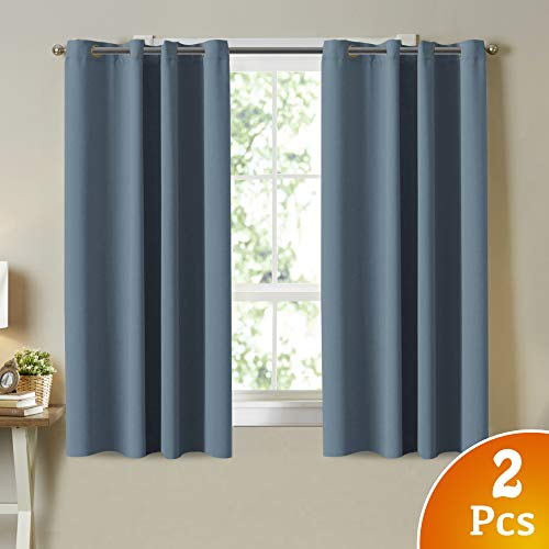 Thermal Insulated Solid Grommet Blackout Curtain Panels for Bedroom Room Darkening Curtains/Drapes for Kitchen Room, 2 Panels, Small Window Blackout Curtains, Citadel Blue (Blue And Curtains Dark Grey)