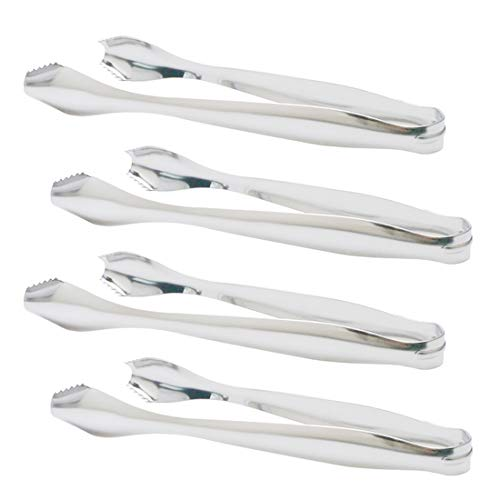 SOLEADER Ice Tongs, Pom Tongs,7 Inch Kitchen Tongs, Small Serving Tongs, Food-Grade Premium 304 Stainless Steel Tongs, Heavy Duty, Pack of 4 (7