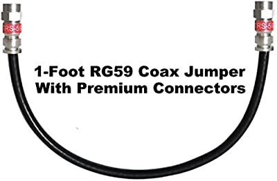 Channel Master 1 Foot RG59 Digital Coaxial Cable with Premium Compression Connectors (Black)