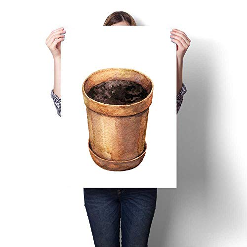 (Anshesix Hanging Painting Watercolor Clay Flowerpot Ready to Hang for Home Decorations Wall Decor 16