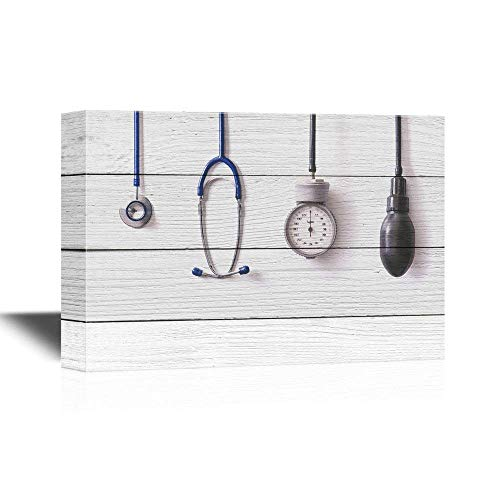 """BABE MAPS 24""""x36"""" Canvas Prints Clinic Canvas Painting Wall Art Medical Apparatus and Instruments on Wood Style Background Gallery Wrap Modern Home Office Decor Stretched and Ready to Hang"""