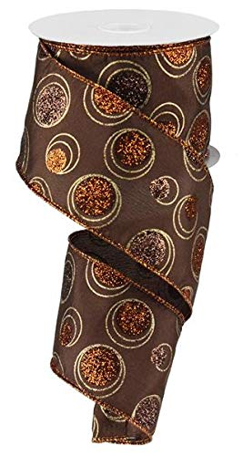 Fall Thanksgiving Dots Brown Orange Rust Wired Ribbon 2.5