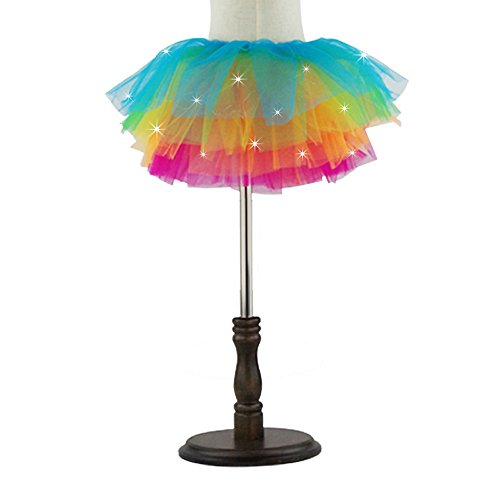 Women Led Light Up Neon Rainbow Party Dance Tutu Skirt Colorful (Rainbow Tutu Adults)