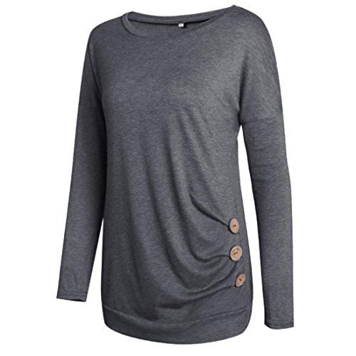 Dcoration Lache Bouton Mme Shirt Top Rond Chemise Gris Col A1 T Huicai Chemisier WYBnaxa