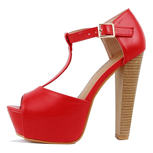 Sexy High Heeled - Guilty Heart Womens Peep Toe High Heel Stiletto T-Strap Platform Sexy Sandals Heeled Sandals, Red Pu, 8.5 B(M) US