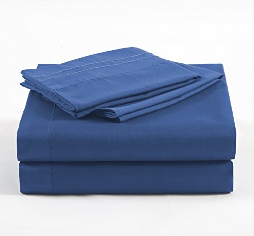 Navy Sage - MarCielo 4 Piece Bed Sheet Sets By, Deep Pockets, Microfiber Sheets: 1 Flat Sheet, 1 Fitted Sheet, 2 Pillow Cases, Wrinkle & Fade Resistant, Hypoallergenic Sheet & Pillow Case, King Size, Navy Blue