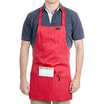 """Chef Revival 602BAFH Poly Cotton """"Front of the House"""" Professional Bib Apron with 3 Compartment Front Pocket, 25 by 28-Inch, Red"""