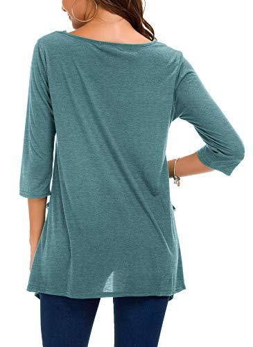 Con Indaco Goco Donna Manica Lunga Plus Urban Casual A 3 Camicetta Maglietta Blu Tunica 4 Tasche Size aFqwagI