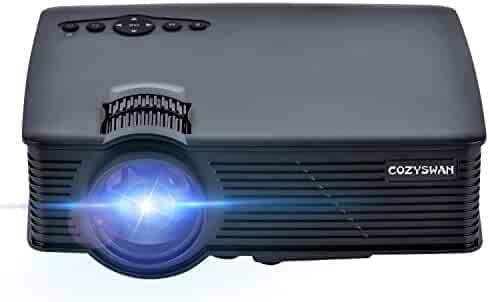 Projector, Cozyswan GP9 Support 1080P HDMI 1500 Luminous LCD Mini Projector for Outdoor Indoor Movie, Home Theater