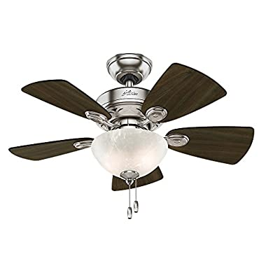 Hunter Fan Company 52092 Watson Ceiling Fan with Light, 34 /Small, Brushed Nickel