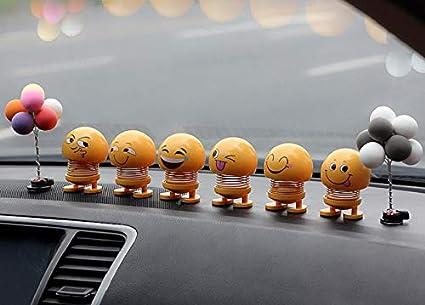 D/écoration Dint/érieur De Voiture Ornements Creative D/écoration De Voiture Expression Emoji Jouets Mignon Auto D/écoration De Voiture 6 PCS KayMay Smiley Printemps Printemps Secouant La Poup/ée
