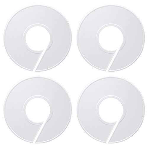 Delxo 50 Pack Clothing Rack Size Dividers Round Hangers Dividers (White)