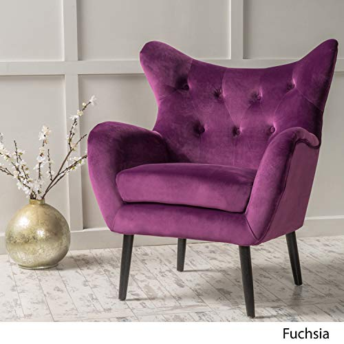 Modern Wingback Armchair - Tufted Back Living Room Velvet Upholstered Accent Chair for Living Room, Guest, Reception and More (Purple) (Purple Velvet Chair Wingback)