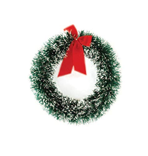 - FLOMO White Tip Flocked Green Pine Wreath with Red Bow, 13 Inch