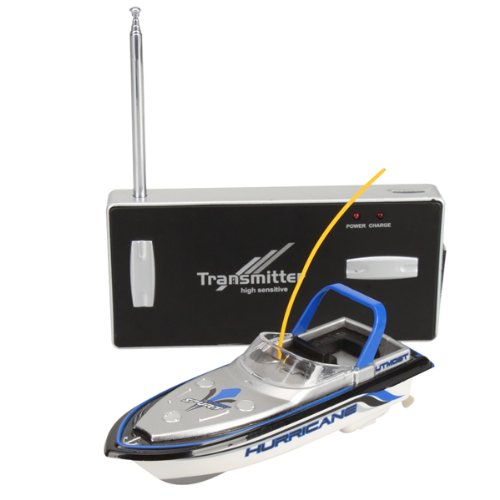 Silver with Blue 13cm RC Remote Control Mini Toy Boat Mosquito Craft