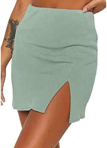 MISYAA High Waisted Skirts for Women Simple Solid Tube Skirt Tight Over Knee Work Mini Skirt Besties Gifts Womens Skirts