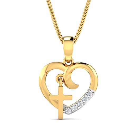 KuberBox 18KT Yellow Gold and Diamond Pendant for Women