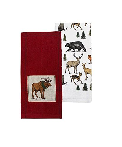 St. Nicholas Square Christmas Moose and Wildlife Kitchen Towels 2 Piece Set Through The Woods by St. Nicholas Square