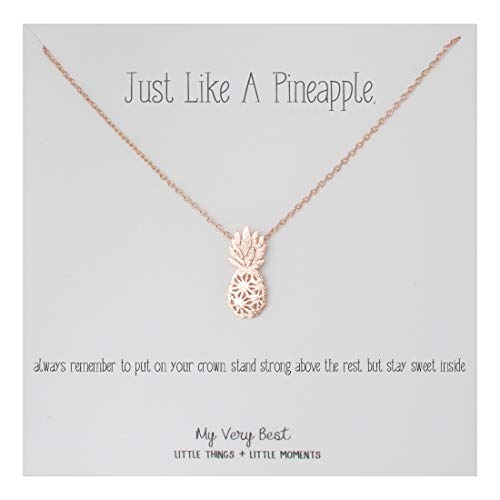 My Very Best Dainty Pineapple Necklace Just Like a Pineapple, Always Remember to Put on Your Crown, Stand Strong Above The Rest, but Stay Sweet Inside. (Rose Gold Plated Brass) (Cute Things To Put On A Keychain)