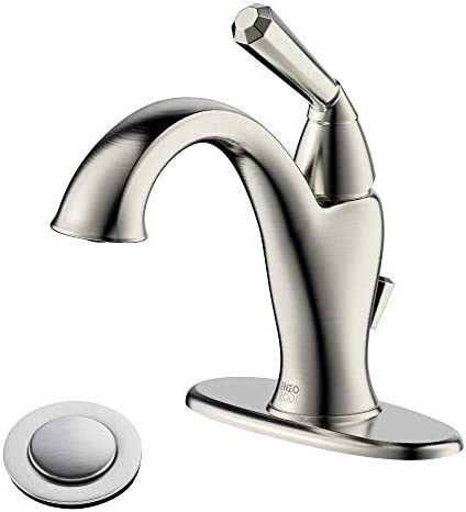 ENZO RODI Brushed Nickel Bathroom Faucet One Hole, Single-Handle Bathroom Sink Faucet with Lift Pop-up Drain Assembly, ERF1363196AP-10