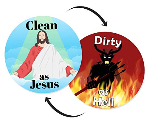 (Willa Flare Dishwasher Magnet Clean Dirty Sign - Funny Jesus and Devil Design Magnets - Small, Cool Magnetic Gadgets for Kitchen Organization and Storage - Strong Double Sided Indicator -)