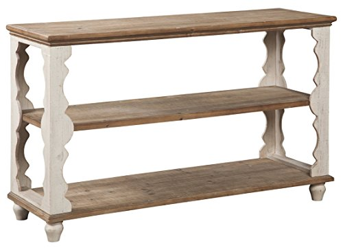 Signature Design by Ashley A4000107 Alwyndale Console Sofa Table, Antique (Scalloped Side Table)