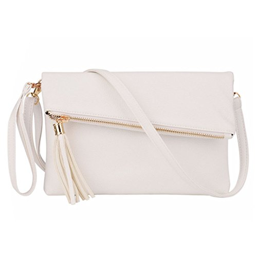Orfila Foldover Clutch Bag Purse Womens Leather Evening Wristlet Handbag Shoulder Cross Body Bag with Tassel White by Orfila