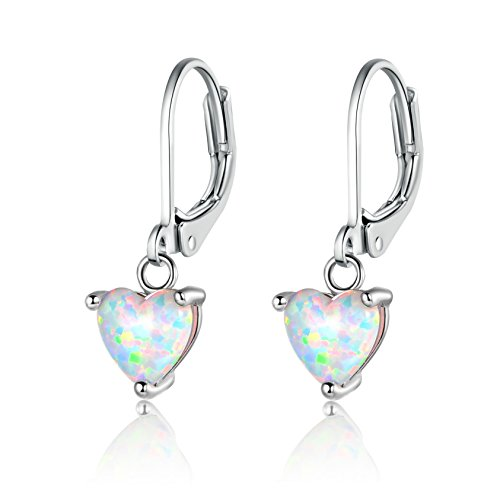 - GEMSME 6mm Heart Birthstone Opal Dangle Earrings White Gold Plated for Women (White)