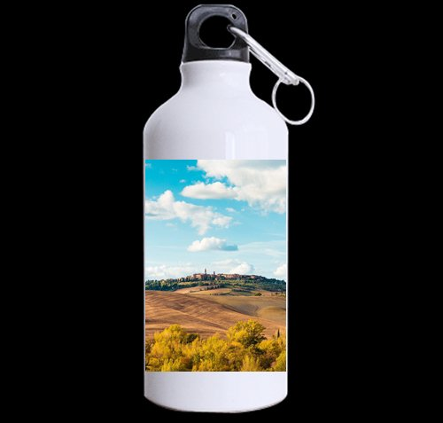 Flipped Summer Beautiful Tuscan Landscape Around Pienza Town, Italy Customized Sports Water Bottle Art Printing Travel Cup Twin Sides by Flipped Summer