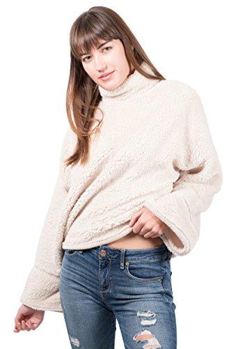 (Brooklyn Cloth Women's Sherpa Fleece Sweatshirt Mock Turtleneck Pullover, Cream Medium)